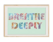 Geometric Breathe deeply  Meditation Collage Poster Print on aqua background, Triangles, crystals, rainbow