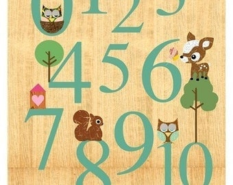Counting with cute animals on wood - Owl, Squirrel, Deery, bee and  Little Treehouse collage poster  print