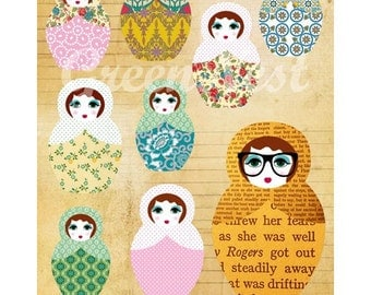 Be different - russian doll nerd collage poster print