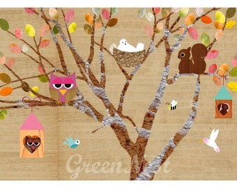 Happy Tree Collage Poster Print