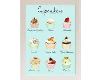Vintage Pastel Aqua and Pink Cupcakes Kitchen Collage Poster Print, decorate Kitchen, wall art