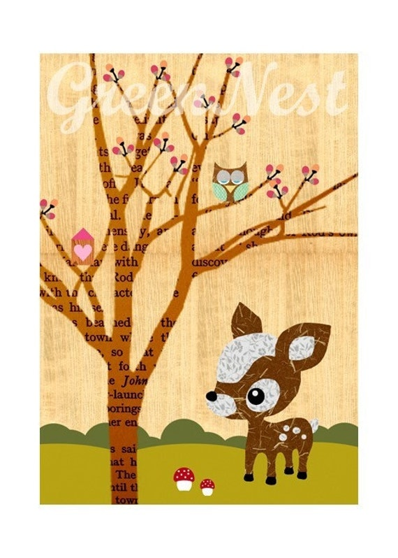 Little Treehouse owl and deery poster collage print