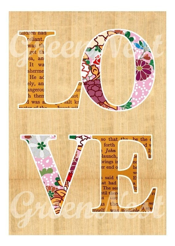 Love and Flowers Collage Poster Print on wood