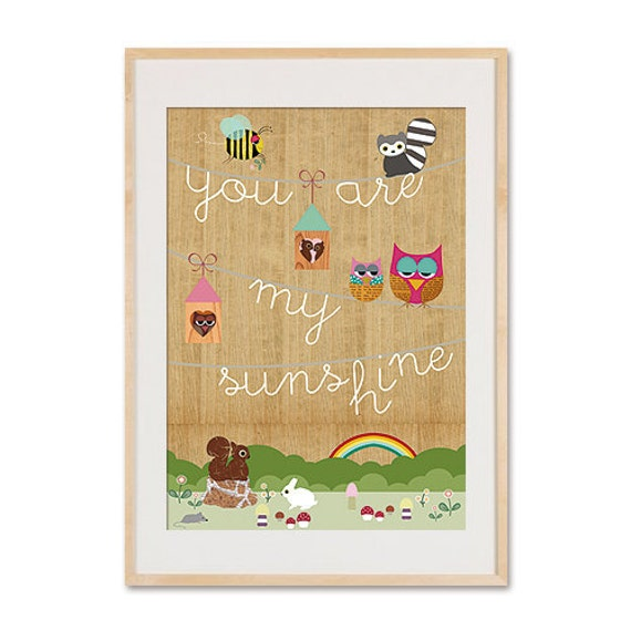 A3 size You are my sunshine - nursery print on wood with cute animals kids art, kids room decor