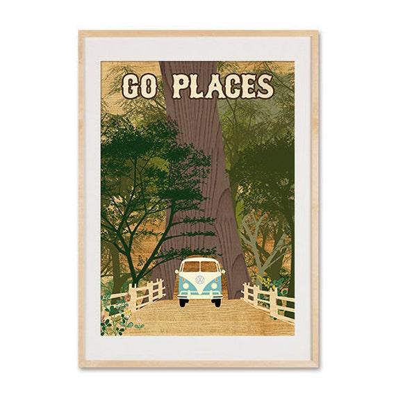 Vintage Volkswagen Camper Bus Collage Poster Print, Redwoods, Go Places, Chandelier