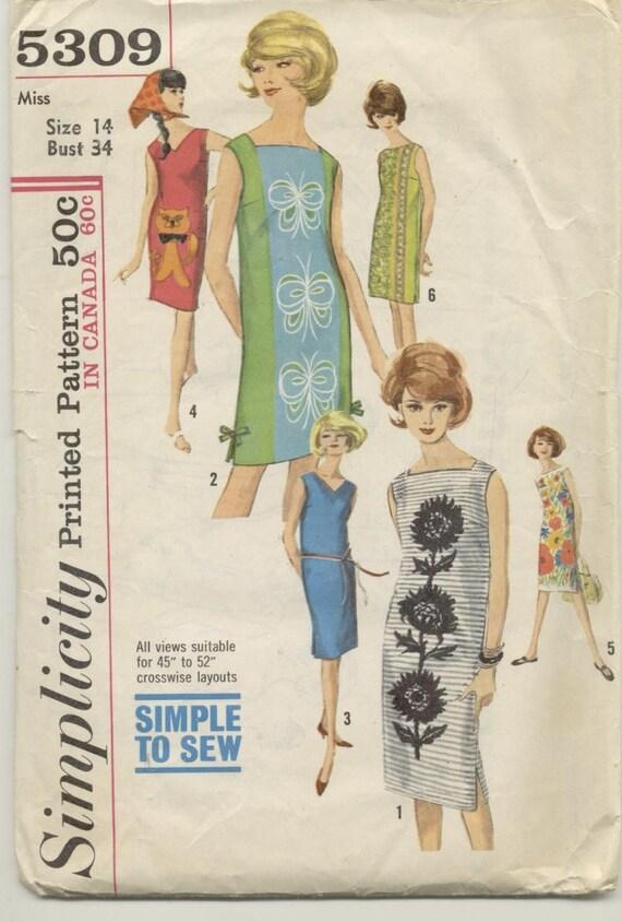 1963 Straight Shift Dress Sewing Pattern Simplicity 5309 - photo#27