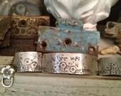 Thyme Began in a Garden I - hand stamped bracelet