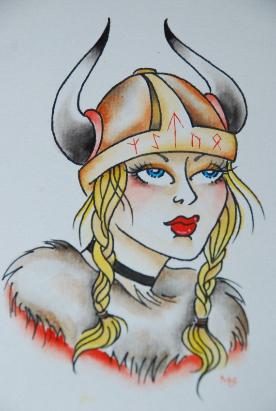 Original hand painted watercolor ink tattoo style norse nordic for Independent tattoo lincoln ne