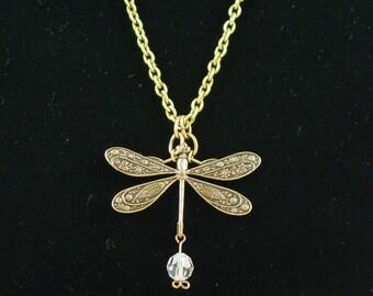Art Nouveau Dragonfly Brass Necklace