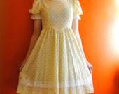 1970s lemon cream tea party dress (medium)