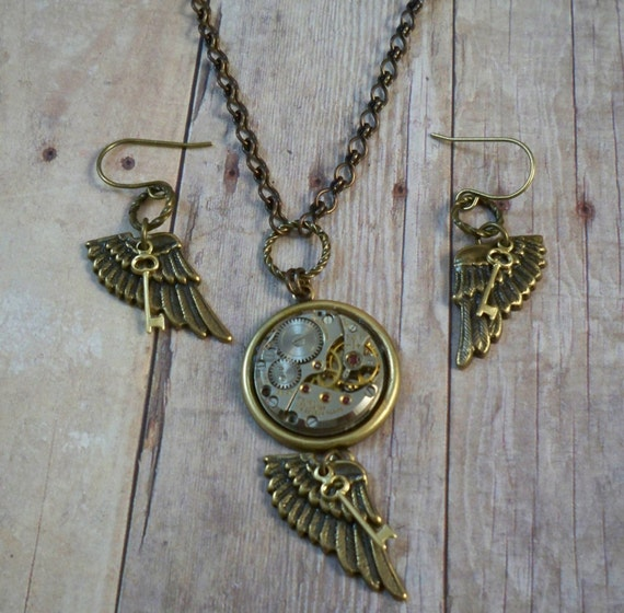 Clockwork Wing Key Necklace and Earring Set, Steampunk Jewelry by Simply Willow, Birthday Christmas Anniversary Hannukah GIFT
