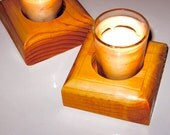 "Distressed Pine ""Stud"" Candle Holders, one pair"
