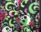 Pink/Green Skulls Fleece Fringe Scarf