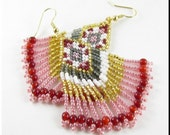 The Kalypso Native American Style Beadwork Dangle Chandelier Seed Bead Earrings