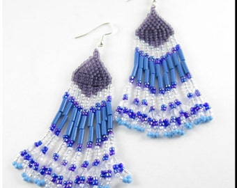 Native American Style Beadwork Fringe Chandelier Seed Bead Earrings in Blue and Purple