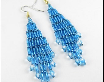 Bugle Girl Beadwork Chandelier Dangle Seed Bead Earrings in Teal