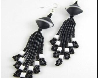 Beadwork Seed Bead Earrings Dangle Chandeliers in Black and White