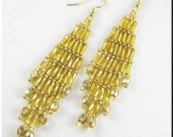 Bugle Girl Beadwork Dangle Chandelier Seed Bead Earrings in Gold