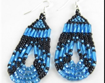 Native American Style Beadwork Seed Bead Earrings Dangle in Teal and Black Loop De Loop