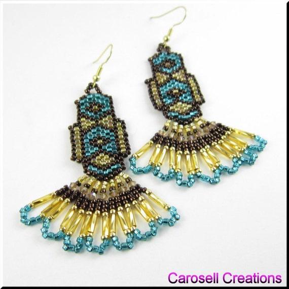 Bronze Beauty Native American Style Beadwork Chandelier Seed Bead Earrings