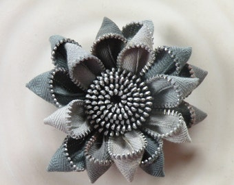 Grey Zipper Flower Brooch by Re Zip It