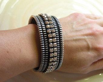 Rhinestone Recycled Vintage Zipper Cuff Bracelet