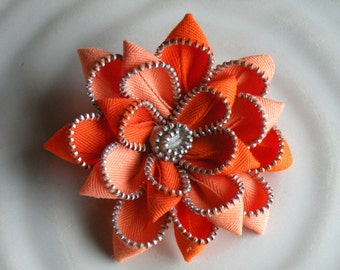 Orange Recycled Vintage Zipper Brooch or Hair Clip
