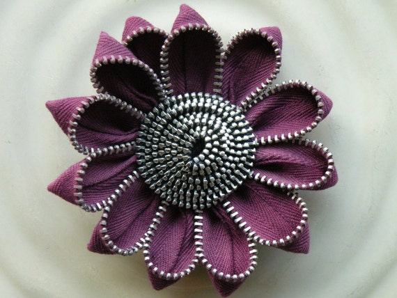 Purple Vintage Zipper Hair Clip or Brooch