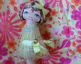Shelly Jean Large Yellow Cloth Paper Doll Vintage Inspired