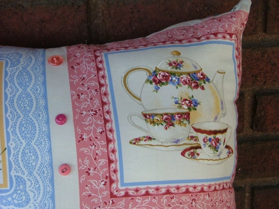 Afternoon  Tea  OVERSTUFFED  PILLOW   With Vintage  BUTTONS
