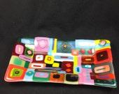 Retro colorful squares fused glass rectangle dish