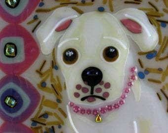 creme lab puppy fused glass decorative tile