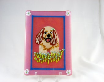 SALE  Cocker Spaniel fused glass whimsical pup