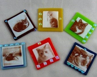 6 Personalized Fused Glass Photo Magnets