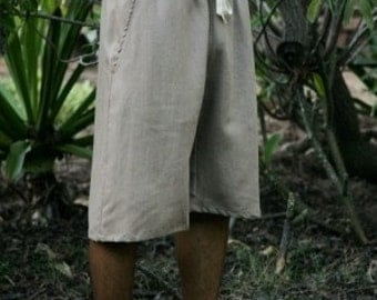 Mens Drawstring Hemp Shorts