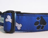 Blue Paws and Bones adjustable clip dog collar, small to large sizes