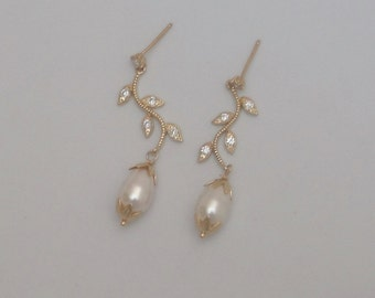 Gold Swarovski Pearl Branch & Leaves Pearl Wedding Earrings Bride Mother of the Bride Mother of the Groom Marsala Prom