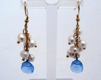 Gold Pearl Cluster With Blue Crystal Earrings