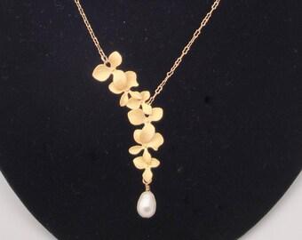 Gold Orchid Swarovski Crystal Pearl Cascade Wedding Y Necklace Bride Bridesmaids Mother of the Bride Mother of the Groom  Marsala Silver