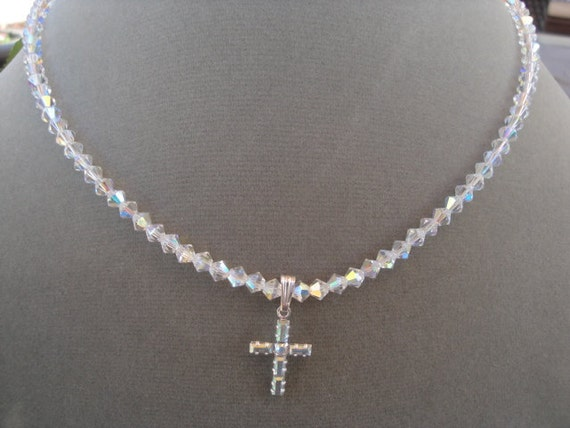 Holy Communion Confirmation Christian Cross Flower Girl Swarovski Crystal Cross Necklace Pearl Cross Necklace Pendant  Wedding Bridesmaids