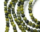 16 inch strand natural Yellow Turquoise 4mm round beads, supplies