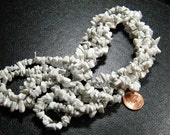 36 inch strand natural white Howlite chip beads, supplies