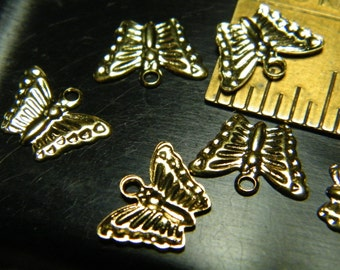 20 gold plated butterfly stampings, 13mmx9mm, charms, supplies