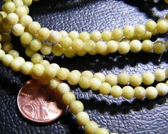 16 inch strand natural Peridot Jasper 4mm round beads, supplies