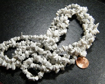 36 inch strand natural white Howlite chip beads, supplies