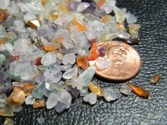 Multi Gemstone, tiny chips, pastels, NOT DRILLED, for embellishments and mosaics, 50 grams, supplies