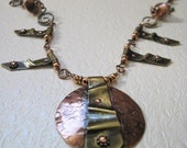 Fold Formed Pure Brass and Copper Necklace and Earrings
