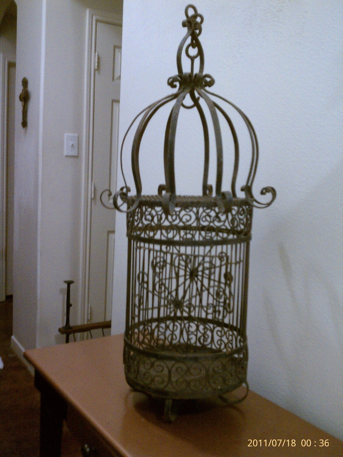 vintage large wrought cast iron bird cage. Black Bedroom Furniture Sets. Home Design Ideas