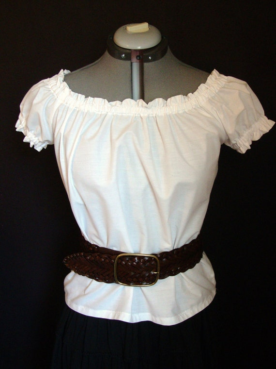 White Costume Chemise Blouse Peasant Top