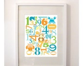 Numbers Art  'Animals and 123's' - Boy 8x10 Counting Poster